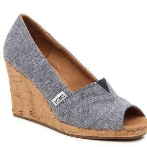 Toms Peep Toe Wedge Heel Denim Shoe